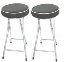 Set Of 2 Kitchen, Black Soft Padded, Round Folding Stool, Seat, Fold-able Chair