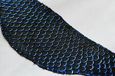 authentic Asia Carp Fish Skin Hide Leather Craft Supply Blue Metallic