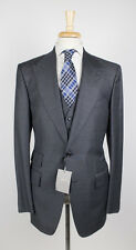 NWT TOM FORD Classic Gray Peak Lapels Wool 2 Button 3 Piece Suit 58/48 R Base A