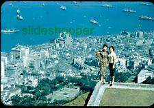 Slide Photo Central Hong Kong Harbor Pretty Woman View Peak 1950s 1955