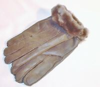 NEW! Womens Warm Grey Winter Sheepskin Shearling Gloves Real Leather M size
