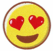 EMOJI LOVE HEART iron on/sew on Embroidered Patch Applique DIY (US Seller)