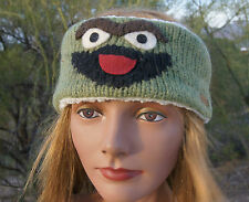 deLux OSCAR THE GROUCH HEADBAND snowboard Leather tag earband SESAME STREET