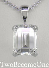 DIAMOND CIONDOLO COLLANA 3,00 ct D IF certificato Emerald Cut / Platino