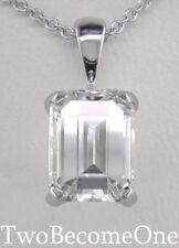 DIAMOND CIONDOLO COLLANA 3,00 ct D IF certificato Emerald Cut / Platino