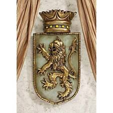 Design Toscano Medieval Rampant Lion Shield Wall Sculpture Plaque Coat of Arms