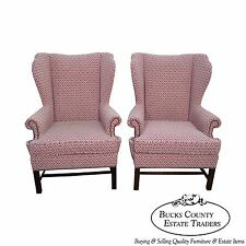 Baker Furniture Co Pair of Chippendale Style Wing Chairs