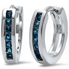 Round Blue Sapphire Hoop .925 Sterling Silver Earrings