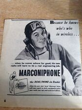 Ephemera 1943 Ww2 Advert Marconiphone Marconi Man Forces Sailor M5074