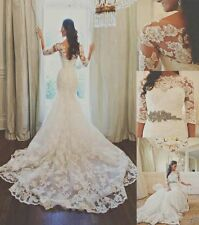 Lace Mermaid White/Ivory Wedding Dress Bridal Gown Custom Size 6-8-10-12-14-16 +