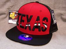 Texas Striped Red Black Flat Rimmed Snapback Trucker Cap Piranha Records