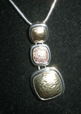 NEW Monet Trio Stacked Squares Neklace in Gold & Silver Metal BRILLIANT!
