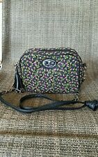 Betsey johnson Betseyville  black pink floral quilted  women's small purse