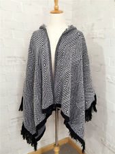 Samanthajane Clothing Womens Poncho/Shawl/Wrap Black/Grey Hooded Diamond design