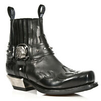 NEWROCK M.7966 S1 Black EXCLUSIVE New Rock Punk Gothic Cowboy Riding Boots Mens