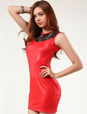 Sexy Red & Black Wet Look PVC Faux Leather Short Dress Lace Front/Back Size 8-10
