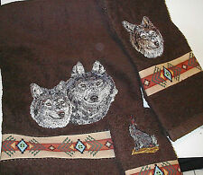 WOLF TOWEL SET IN BROWN