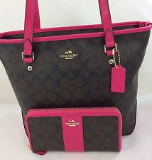 New COACH F34603 Signature Zip Top Tote Handbag Purse Shoulder Bag+ Wallet Pink