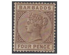 BARBADOS stamps 1885 Queen Victoria 4 PENCE pale brown SG.98 Hinged (F62)