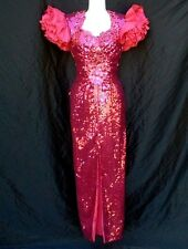 VINTAGE 70S/80S ALYCE DESIGNS SIZE 4 HOT PINK SEQUIN PARTY PROM DISCO DRESS WOW!
