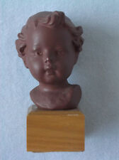 Vintage Porcelain Bisque Goebel Hummel Figurine Doll Head on Wood Block 1969