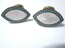 VINTAGE VICTORIAN GUILLOCHE TURQUOISE DOTTED & WHITE BEANBAG BACK CUFFLINKS VTG.