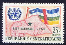Central Africaine 1961, National Day. OPT, Flags, Map