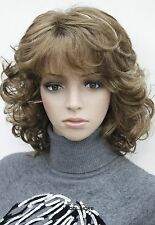 Brown Mixed Short Curly Women ladies Daily Synthetic Fluffy Wig FTTLD217
