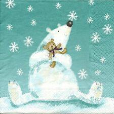 3 Servietten Napkins Winter Weihnachten Schneebär süss #244
