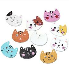 Trendy Wood Sewing Button Scrapbooking Cute Cat Shaped Crafts 2Holes