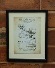USA Patent Drawing vintage BARBER GLOVE hairdresser hair MOUNTED PRINT 1975