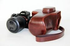 Leather Pouch Detachable Camera Case Bag Coffee For Sony A7 / A7R 28-70mm Lens
