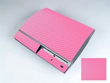 Pink Carbon Fiber Vinly Skin Sticker Cover Protector for Sony PS3 PlayStation 3