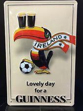GUINNESS  Irish Toucan Vtg Metal Pub Sign 3D Embossed Steel Decor,Football