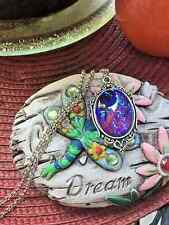 MEXICAN FIRE LARGE purple opal DRAGONS BREATH Necklace Pendant WEDDING ROMANTIC