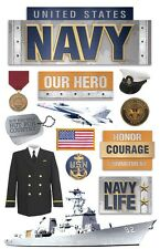PAPER HOUSE UNITED STATES US NAVY MILITARY DIMENSIONAL 3D SCRAPBOOK STICKERS