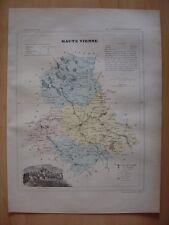 CARTE départementale de la HAUTE VIENNE vers 1880 Limoges Bellac Rochechouart