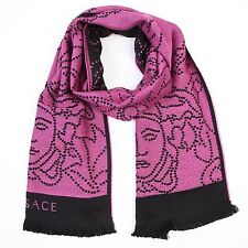 """Versace 100% Wool Pink/Black """"Faces"""" Logo Scarf NEW"""