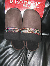Isotoner holiday slippers Brown w black Nordic trim women's 9.5-10