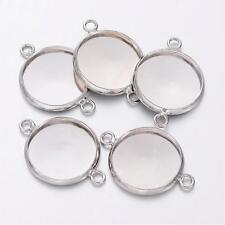 10 x Silver Cabochon Pendant Tray Connector settings 14mm for glass cameo dome