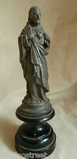 1880'S VICTORIAN SACRED HEART OF JESUS STATUE WITH BLACK WOOD PEDESTAL