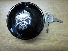 Skull Locking Gas Cap Black Screw in Vented Fits 96 up Harley Davidson