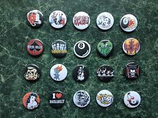 ROCKABILLY 20 X 1 INCH BUTTON BADGES BIKER MUSIC  SKELLINGTON ROCKER 50s  EMO