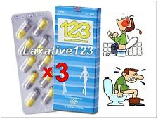 3 Thai Herbal Laxative123 (10 Capsule),for relieve Constipation,Made from Herbs