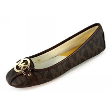 Michael Kors Flats MK Shoes Fulton Moc Signature Leather Brown Size 8#COD Paypal