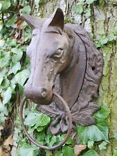 Wall Mounted Horse Head with Hanging Ring Cast Iron garden Ornament Decor