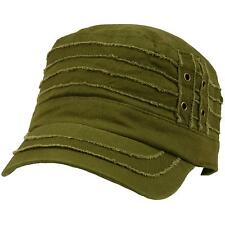 100% Cotton Light Summer Cool Military Cadet Castro Distress Hat Cap Olive 57cm