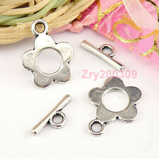 15Sets Tibetan Silver Flower Toggle Clasps Jewelry Making DIY KB157