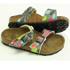 BIRKI'S BY BIRKENSTOCK TAHITI CORK SANDALS GRAY FLOWER KIDS 26 US 8.5