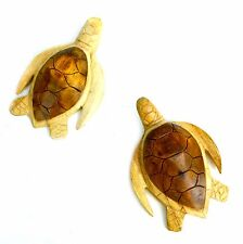 SET 2 SEA TURTLES Wood Hand Carved Ocean Sand Reptile Island Tropical Wall Art